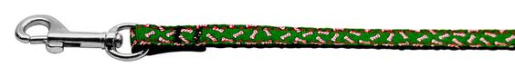 Candy Cane Bones Nylon and Ribbon Collars . 3/8'' wide x 6' Leash