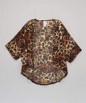 Loving this American Kids Tan Leopard Cardigan - Girls on #zulily! #zulilyfinds
