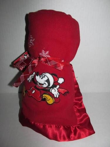 "Disney Store Red Christmas Fleece Blanket 30"" x 30"" Embroidered Mickey New and Just in time for Christmas!"