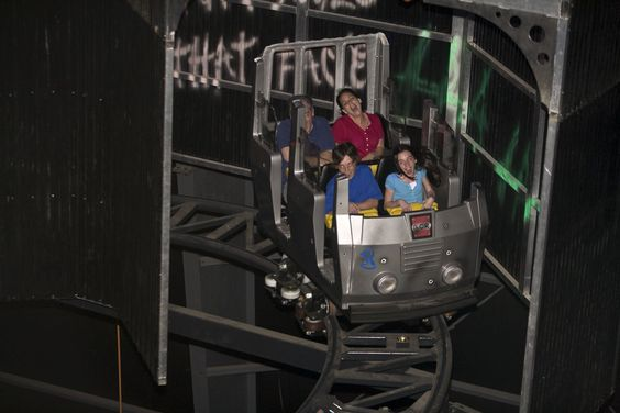 The Dark Knight Coaster is a simple indoor wild mouse coaster much like Disneyland's Space Mountain, but not as PG-13. Description from republicofgeek.com. I searched for this on bing.com/images