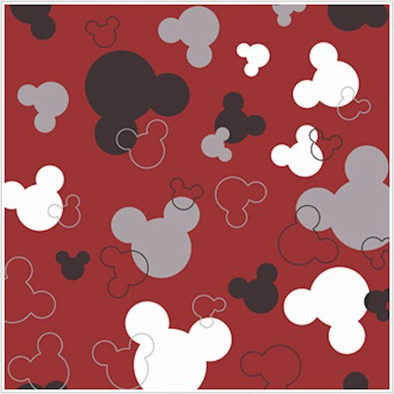 Mickey Mouse Heads Red and Black Wallpaper Wall Sticker