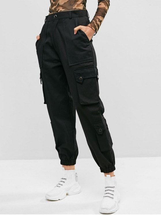 Pockets Solid Color Cargo Jogger Pants Army Green Black Pantalones De Moda Moda De Ropa Ropa Nike Mujer