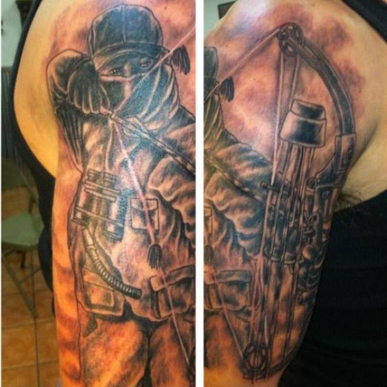 Bow hunter hunters and bows on pinterest for Archery tattoo pictures