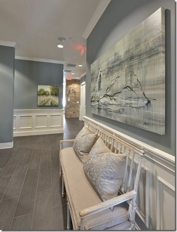 Wall color is Benjamin Moore Sea Pine and Oystershell colors used in this office. Love this blue gray