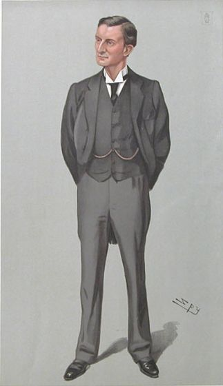 Edward Grey, 1st Viscount Grey of Fallodon caricatured by Spy for Vanity Fair, 1903