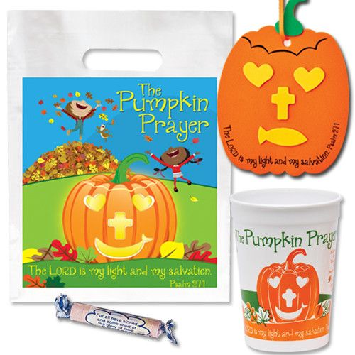 Check this out on our store  Christian Halloween Pumpkin Prayer Party Pack With Cup Bag Candy Check it out here! [product-url