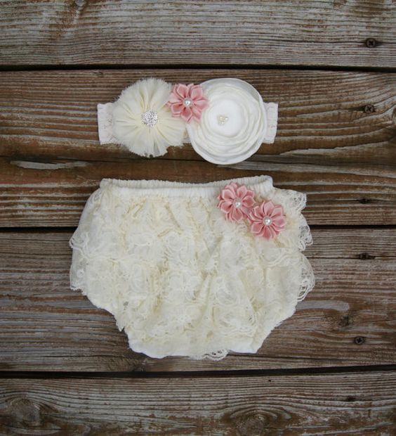 Vintage inspired....Great for a photo prop outfit.      Ivory lace bloomers embellished with vintage pink satin flowers. The lace headband has an
