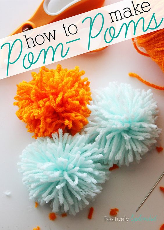 A super simple tutorial for how to make pom poms. No special tools needed!