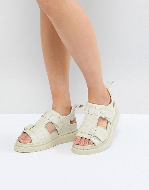 Dr martens kimilah white leather flat sandals + FREE