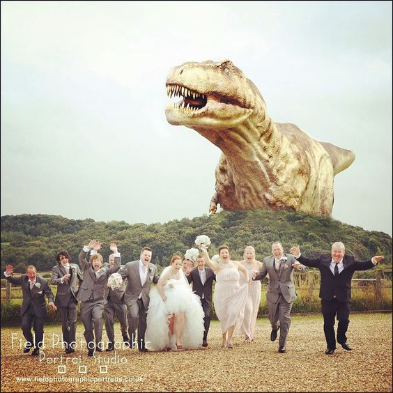 Look out!!! NOT the norm it was a special request #swancarfarm #fieldphotographicportraits #supadupa !! #wedding #dinosaur | From Field Photographic Portrait Studio | http://ift.tt/20TBije
