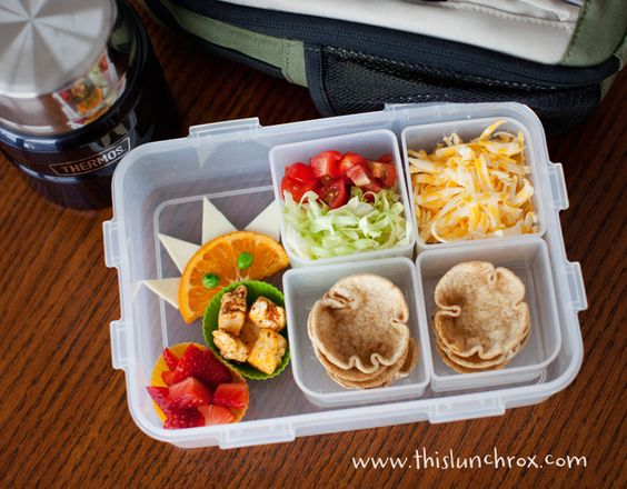 Mini taco cups and fixings in lunch box: School Lunch, Kid Lunch, Lunchbox Idea, Homemade Taco, Kids Lunch