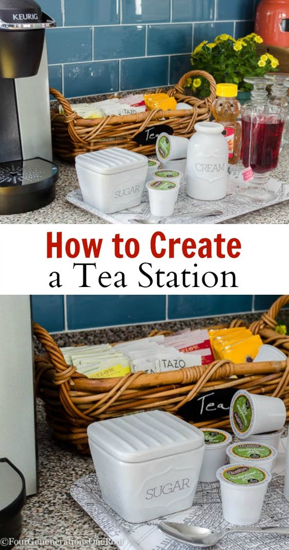 How to create a tea station cream trays and keurig for How to set up a coffee station