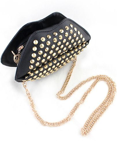 Black Rivet PU Leather Satchels Bag