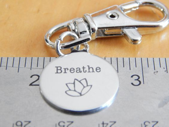 Unisex Gifts Under 20 breathe lotus 20mm round keychain, yoga inspired gift, unisex