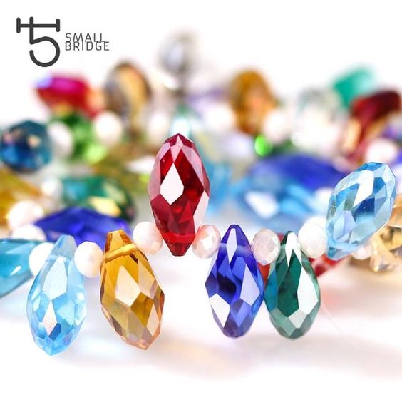 50Pcs Crystal Glass Waterdrop Loose Spacer Beads Crafts Jewelry Making 6×8mm