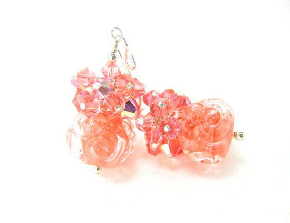 Boro Lampwork Earrings Peach Glass Bead by GlassRiverJewelry, $37.00