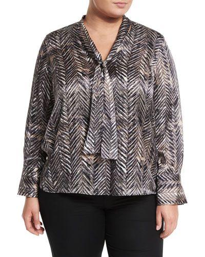 Ardelle Tie-Neck Silk Blouse, Black Multi, Plus Size