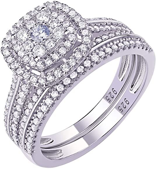 Amazon Com Newshe Engagement Rings For Women Wedding Ring Set 925 Sterling Silver Band 1 6ct Round Cz In 2020 Wedding Ring Sets Wedding Rings Womens Engagement Rings