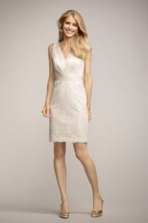 Ivory Sleeveless V-neck Neckline and Back Sheath Short Cocktail Dress