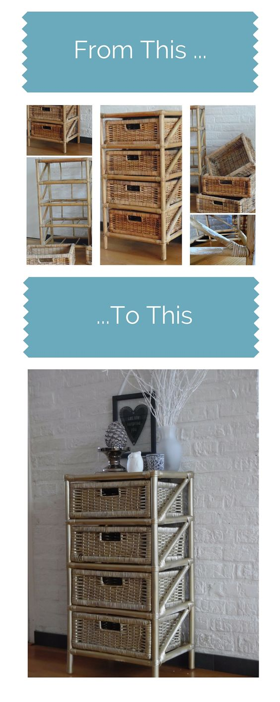 Diy rattan furniture makeover   a little bit of gold spray paint ...