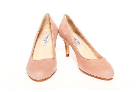 wide fit mid heel pink suede stiletto side | Pale Pink Suede Court ...