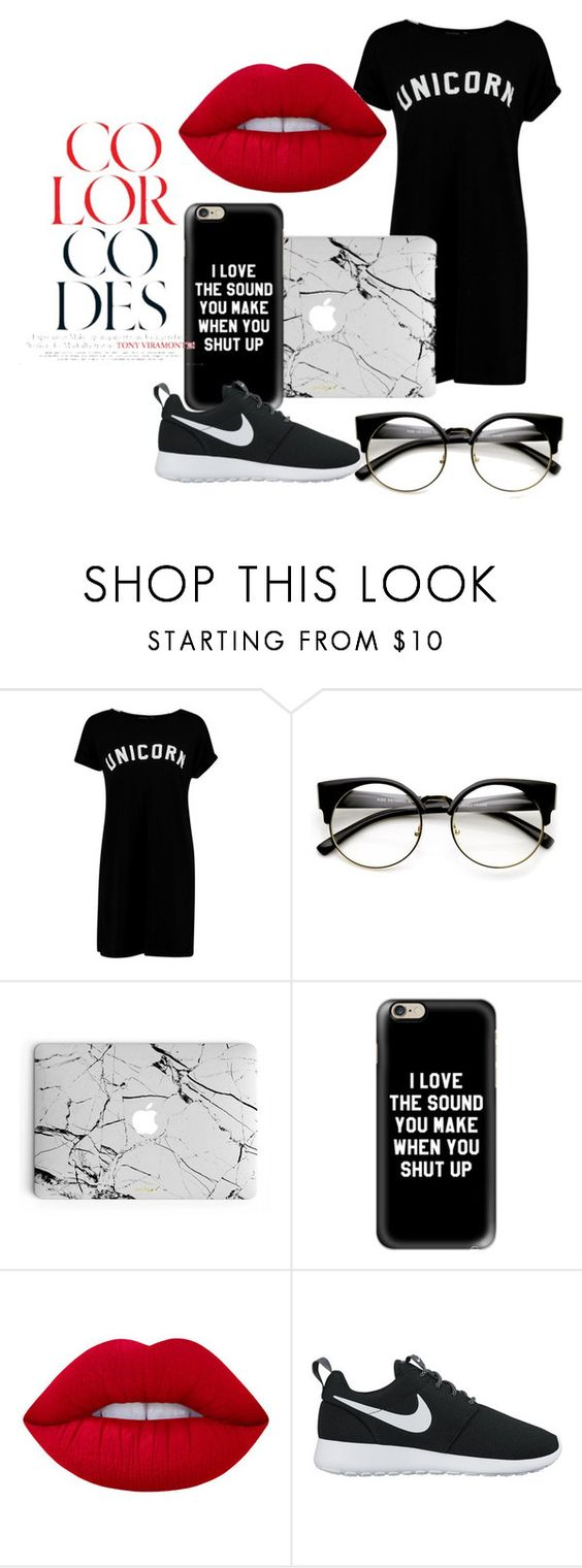 """""""Buy me an unicorn!"""" by amrinjo ❤ liked on Polyvore featuring Boohoo, Casetify, Lime Crime and NIKE"""