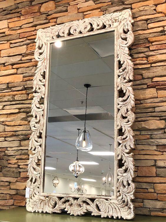 Cheri 84 Carved Floor Mirror White Wash Floor Mirror Mirror Decor White Wash