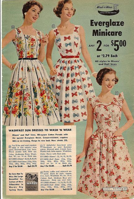 montgomery ward summer 1959 catalog by CapricornOneVintage, via Flickr vintage fashion style color photo print ad models magazine 50s 60s floral print sun dress sundress full skirt fit flare red white yellow green