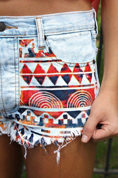 Warrior Print Denim Shorts