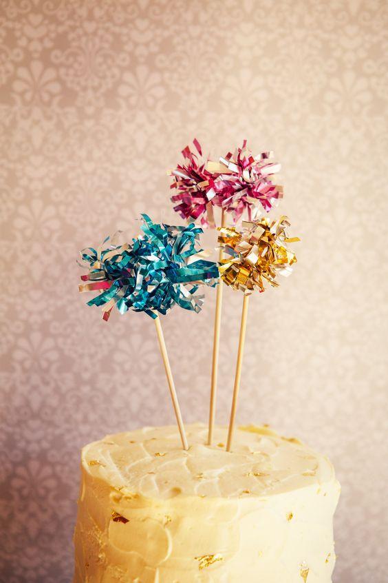 19 DIY tutorial Festive Firework Pom Pom Cake Topper Wedding Party New Years Eve by Hip Hip Hooray for b.loved blog copy
