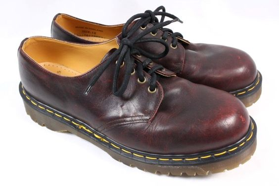 DOC DR MARTENS Stanton 4 Eye Dark Red Leather Oxford Vintage Shoe Men UK12 US 13…