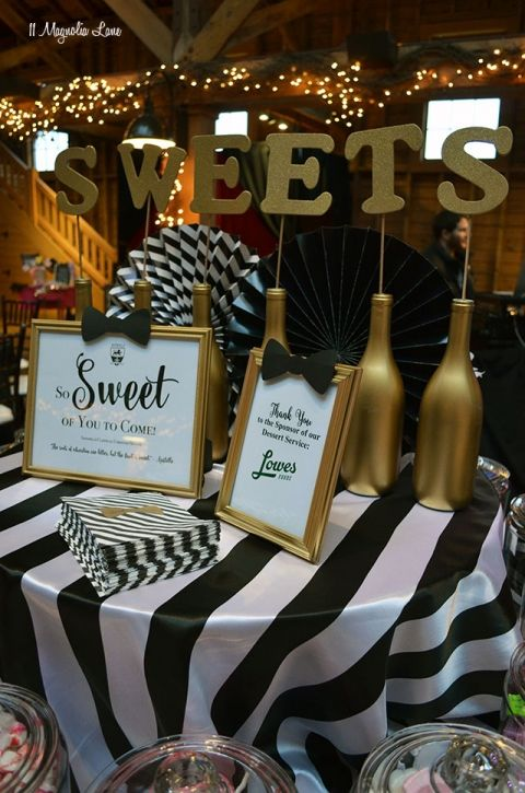 Candy/ sweets bar; Formal event decor: black and white stripes with gold