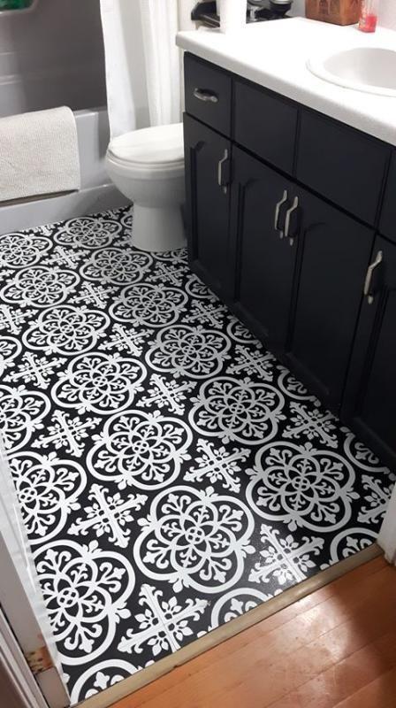 Wallpops Gothic Peel And Stick Floor Tiles 10 Pack 10pack Floor Gothic Peel Stick Tiles Wallpop In 2020 Peel And Stick Floor Tile Floor Vinyl Flooring Bathroom