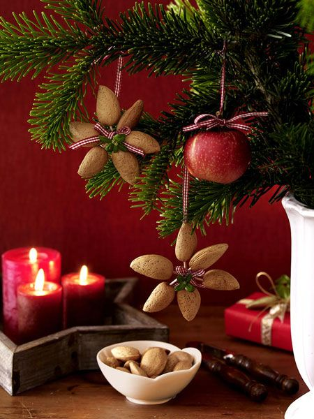 Diy christmas star flower shaped ornaments made from nuts for Apple tree decoration