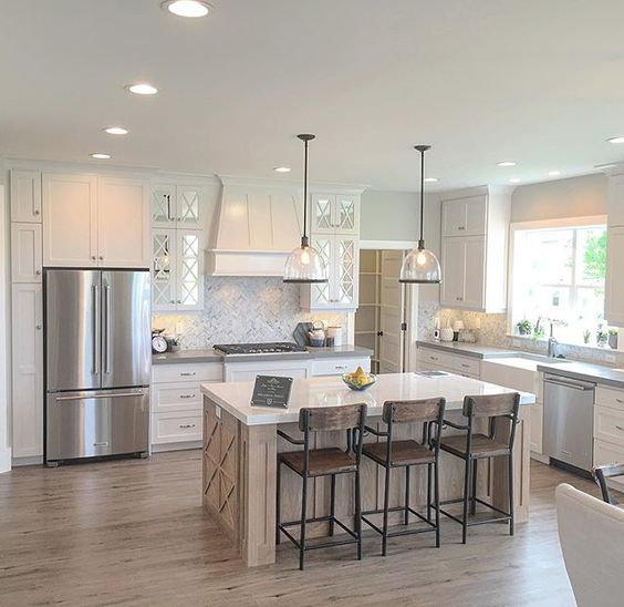 Simple Modern Farmhouse Kitchen And Open Plenty Of Space Between The Island Perimeter Cabinets In Ideas