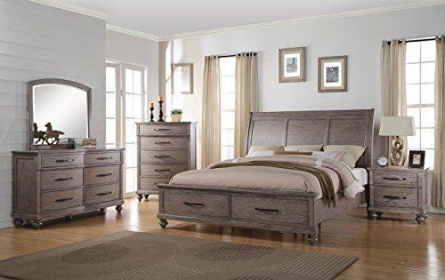 NCF Furniture Langley Eastern King Storage Bedroom Set in ...