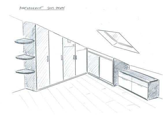 meuble sous pente recherche google gain de place pinterest armoires tag res ouvertes. Black Bedroom Furniture Sets. Home Design Ideas