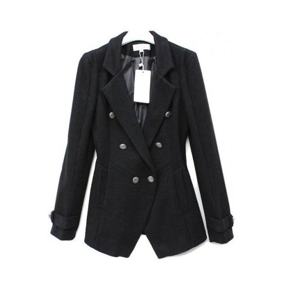 Slim Long-sleeved Double-breasted Black Suit ($55) via Polyvore