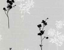 Black and White Contemporary Floral on Woven Light Gray Wallpaper - Modern Botanical Toile, Contrast, Abstract - By The Yard  BK32036