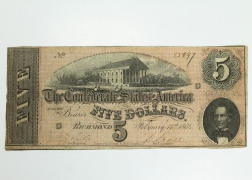 Estate-Found-February-17-1864-5-Civil-War-Confederate-States-Currency-Note