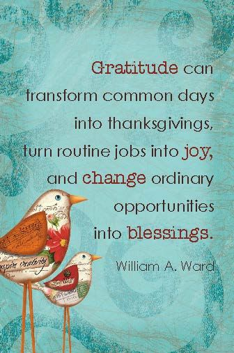 Gratitude can transform common days into thanksgivings, turn routine jobs into joy, and change ordinary opportunities into blessings. ~William A Ward: