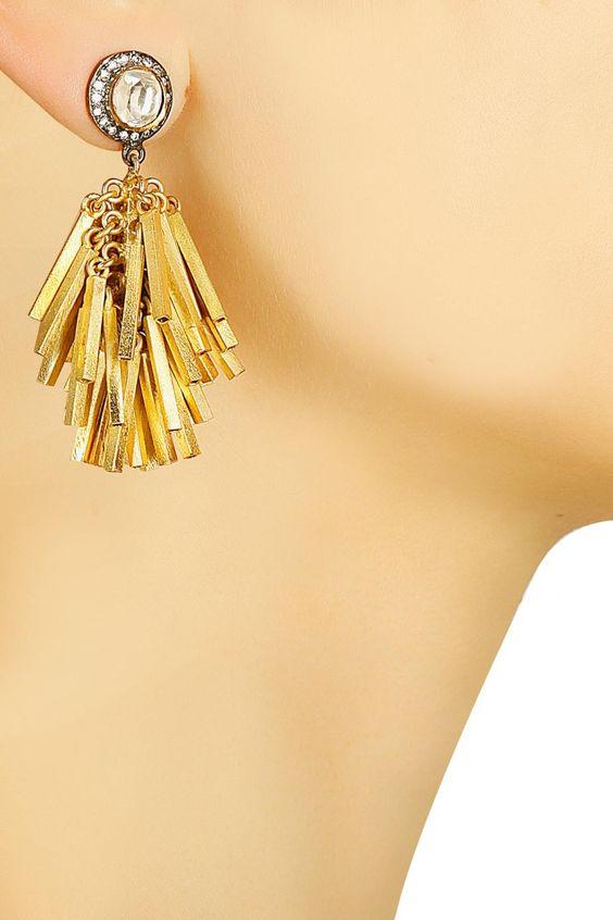 Vasundhara Gold rhodium plated stick shower earrings