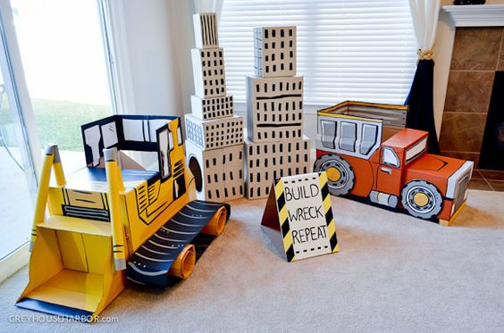 Cardboard Bulldozer and Dump Truck Made from Moving Boxes - perfect for the Construction-Themed Party!