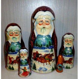Winter Santa with Troyka #Babushka #russiandoll #matryoshka #dollsindolls #decor #traditional