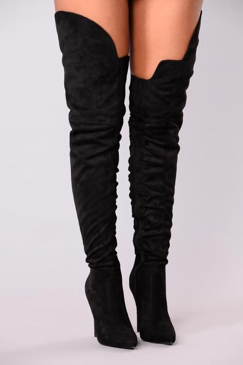 Soft as Suede Thigh High Boot - Black