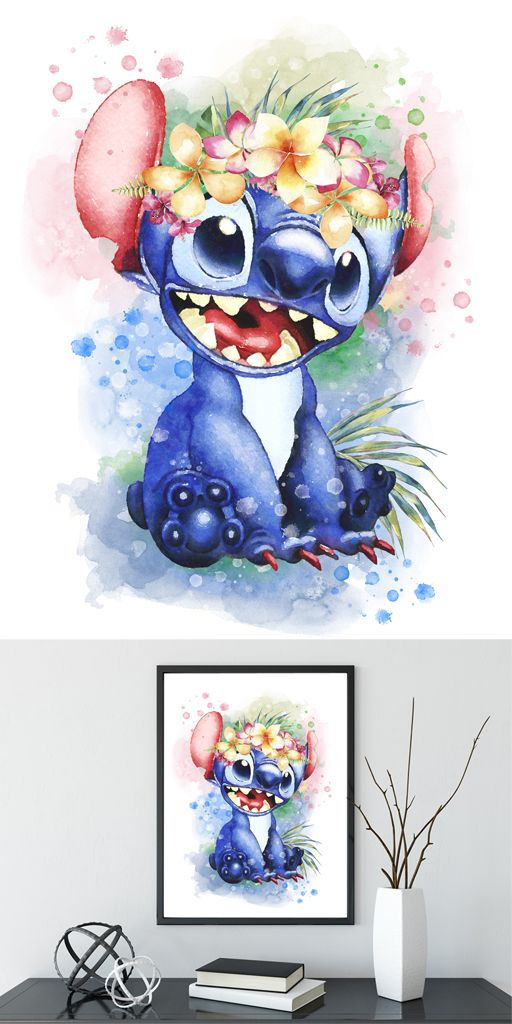 Stitch Lilo And Stitch Digital Watercolour Art Print Disney Printable Watercolor Illustration Lilo And Stitch Drawings Watercolor Disney Cute Disney Drawings
