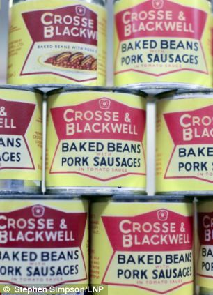 Crosse and Blackwell Baked Beans and Sausages on the shelves