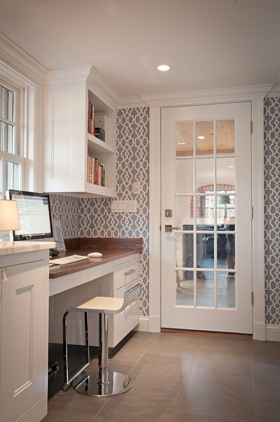 Office with wallpaper & built ins. Could do something like this in laundry room with stencil.: