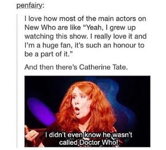 It really pisses me off when people call him Doctor Who but Catherine gets a....well