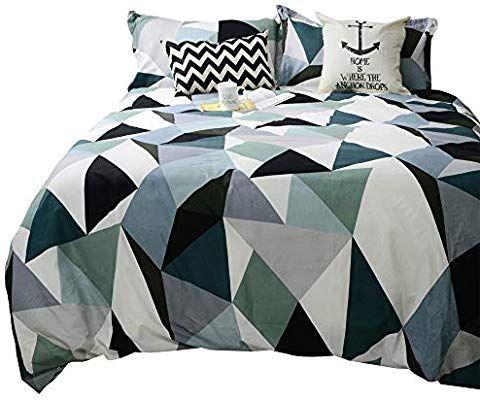 Amazon Com Tealp Modern Geometric Triangle Pattern Duvet Cover 3 Piece 1 Quilt Cover 2 Pillow Duvet Cover Pattern Geometric Duvet Cover Patterned Bedding Sets